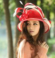 Wholesale Women red hat churh sinamay hat sinamay ribbon sinamay fabric ladies hat sinamay hat women top hat sun shading beautiful hat