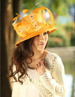 Wholesale Women hat ladies hat for church fashion fresh orange color sinamay hat with stones and feathers women s hat