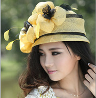 Wholesale Women dress winter hair accessories wome sinamay church hat fashion ladies yellow sinamay hat women sun hat top hat bucket hat fedoras