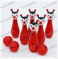 Wholesale LLFA1893 The Wooden Bowling with Animal Design Learning System Family Game Education Learning Toys Kids Toy