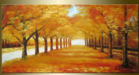 avenues hand painted - hand painted wall art Autumn golden avenue home decoration landscape oil painting on canvas mixorde Frameless draw