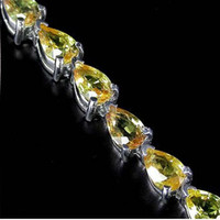 Wholesale Beautiful Jewelry True NATURAL0 ct VERY RARE REAL PEAR x4mm YELLOW SAPPHIRE k white gold BRACELET