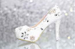 Wholesale Bridal shoes Rhinestone Match wedding Outfit High heel Dress Shoes in White Color cm Heel Party Nightclub Prom Pumps Lady Woman Shoes
