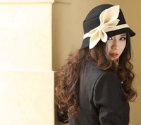 Wholesale Wow Millinery Chapeau Women Hat Female Wool Felt Hat With Bowknot Black And Blue Two Color Available