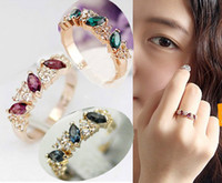 Wholesale wome s wedding RING finger Rings Swarovski crystal stamped KGP gold plating rThree Stone ings