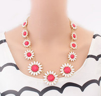 Wholesale S New Korea Stylle Summer joker Pink Yellow Blue Glazed Fresh and Sweet Resin Gem Sunflower Gold Metal Necklace