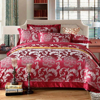 Wholesale 2013 New Red Bedding Sets Silk Floss Fabric Bedding Supplies Wedding Beddings Queen Full Size Quilt Cover Sheet Pillowcase CM2224032