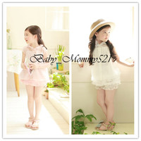 Girl Summer Cotton Blends Wholesale New Summer Girls Clothing Sets The princess T-shirts and Lace Shorts Baby Kids Clothes Free Shipping 13080704