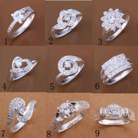 Wholesale Fashion Silver Solitaire Ring Jewelry Unsex Finger Rings Circle Rings Crystal diamond Rings Good Xmas Gift Hot Sale