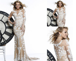 Wholesale Zuhair Murad Evening Dresses Sexy Beteau Champagne Nude Lace Long Sleeves Prom Gown Floor Length Evening Dresses TE