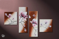 art of caning - hand painted wall art Floating pink cane home decoration flowers Landscape oil painting on canvas set frames of wall