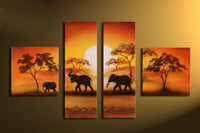 african grassland animals - hand painted African grassland animals elephants home decoration canvas abstract Landscape oil painting on canvas set