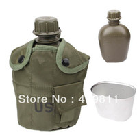 Wholesale Durable in L US Army Military Outdoor Water Bottle Drinking Container with Canteen amp Nylon Carrying Pouch Army Green