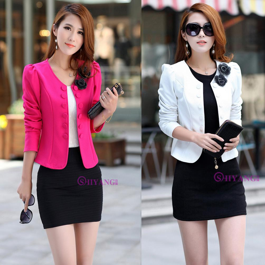 Fashion Women Slim Fit Business Suit Blazer Cute Sexy Jacket Coat ...