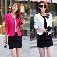 Wholesale Fashion Women Slim fit Business Suit Blazer Cute Sexy Jacket Coat black white pink rose red