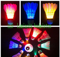 Wholesale Badminton Brand New Dark Night Glow LED Badminton Shuttlecock Birdies Lighting Indoor Sports Flash Colors