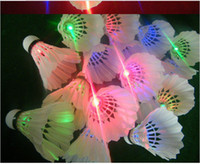 Wholesale Badminton Shuttlecocks Brand New Dark Night Glow LED Birdies Lighting Indoor Sports Flash Colors