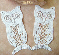 Wholesale Lovely Cotton Lace Appliques beige Big Owl Embroidered Patches DIY CRAFT cm