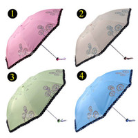 flower umbrella - Color Flower Embroidered Umbrella Parasols Creative Folding Sun Umbrella Lady Faovors S016