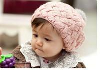 Girl Winter Linen Free Shipping Hot Fashion Cute Children Baby Kids Knit Crochet Beanie Winter Warm Hat Cap,Baby Hat red pink beige WY54 10p