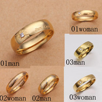 Wholesale Fashion Gold Ring Jewelry stainless steel K Gold Plated Sweet Couple Rings Wedding Ring Jewelry valentine s day Gift Mix Order