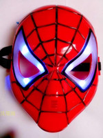 Wholesale Spider man mask blue LED light mask Halloween Costume Theater Prop Novelty Make Up Toy Kids Boys Favorite