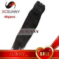 Wholesale 100 Brazilian Virgin Hair Weft quot quot g Natural Straight Remy Human Hair Weave Natural Color XCSUNNY B4G003