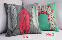 Wholesale Indiana tiara and feather pattern cushions vintage style pillows decorate sofa cushion cover