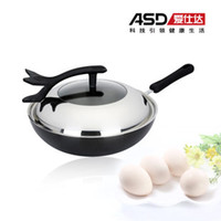 Stainless Steel Woks 30cm Asd 30cm smoke wok electromagnetic furnace general cast iron pot qsw2330e