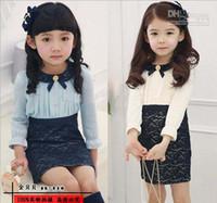 al por mayor muñecos tutús-Mayorista - Caliente de la Venta en Otoño de la Moda de la ropa de los Niños de las niñas de bebé de manga larga vestidos de las Niñas de la muñeca cuello de encaje vestido de Una línea de vestido de princesa