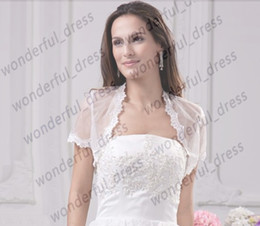 Wholesale 2013 Custom New Elegant Short Sleeves White Lace Bolero Wedding Jackets Bridal Wraps