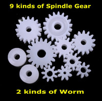 Wholesale 9 kinds of Spindle Gear kinds of Worm DIY Motor Reducer Gearbox Model Toy Accessories Plastic Gear Package