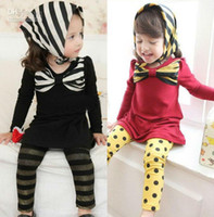 Spring / Autumn Long Sleeve 100% Cotton Fashion 5pc lot Sping Autumn Style Cotton Chest Big BOW Baby Girl Dress Blouse Long tops For Kids Children Black Red zvzv