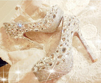PU Beaded High Heel Unique Sparkling Crystal Diamond Wedding Bridal Shoes High Heels Waterproof Sandal Party Prom Shoes