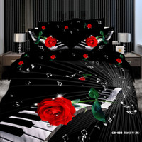 Wholesale 2013 newest black white piano notes red rose bedding set reactive printing full queen quilt duvet cover bed in a bag comforter sets pc