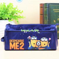Wholesale 6 styles Despicable me minion children s stationery double deck pencil case EMS
