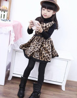 Wholesale Cute Girl Dresses Round Neck Sleeveless Flannel Fabric Leopard Design with Waist Belt High Quality Double Layer Children Dress