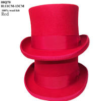 Red felt top hat - Special Fashion Perfect Red felt top hat with cm for men and ladies wool wear in school party festival wedding meeting