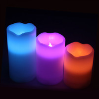 Wholesale Flameless RGB LED Colorful Candle Light Set Pillar Paraffin Wax Color Changing with Timer Remote LED Candles Press Keys