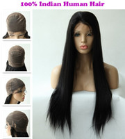 Wholesale DHL Free Rani Hair Real Images Indian Remy Human Hair Full lace wig Inch Silky Straight Color Jet Black BA023