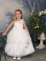 Wholesale DHgate hot wind Custom Made New Cheap Lovely Jewel Long Length Ball Gown Baby Flower Girl Dresses Handmade Flowers