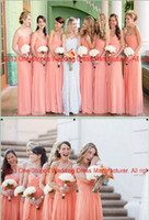 Wholesale Hot Cheap Elegent Bridalsmaid Dresses Sweetheart Chiffon Peach Empire Waist Pleat Ruffles Floor Length Prom Clothes