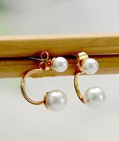 Wholesale E New Korea Style Fashion Cute White Pearl Stud Earrings pairs