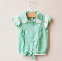 2013 Girl's DOT Tee Shirts Lace Green Lovely Short- sleeved S...