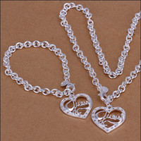 Wholesale China Love Couples - Hot couple love jewelry 925 silver necklace bracelet set Valentine's Day gift