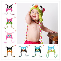 Cheap 5pcs lot Free Shipping Baby owl design Crochet Baby Hat with Earflaps Child Handknitted Hat Baby Winter Hat