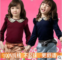 Wholesale Girls Autumn Fashion Sweet Set Gold Peter Pan Collar Puff Sleeve T shirt And Casual Pants Pieces Set