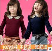 Wholesale Girls Autumn Fashion Sweet Set Gold Peter Pan Collar Puff Sleeve T shirt And Casual Pants Pieces Set