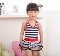Revisiones Fashion skirts-Fashion Kid baño Chicas de una sola pieza traje de baño de la marina de guerra de la raya de los niños Beach Wear falda de la capa # 9930