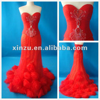 Strapless A Line Polyester 2012 New Model Sweetheart Neckline Ruffled Beads Working Bodice Chinese Red Real Wedding Evening Dress